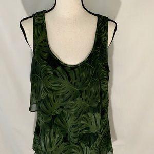 Michael Kors Tropical Leaf Print Layered Tank Lg